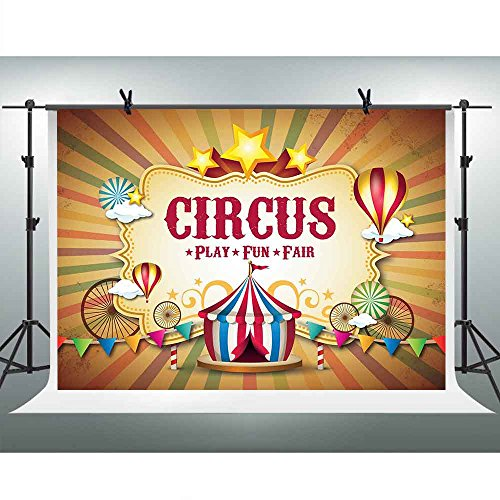 FHZON 10x7ft Circus Carnival Photography Backdrop Colorful Tent Birthday Banner Personalized Background Themed Party YouTube Backdrop Photo Booth Studio Props PFH381 -