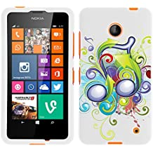 MINITURTLE, Slim Fit Graphic Design Image 2 Piece Snap On Protector Hard Phone Case Cover, Stylus Pen, and Clear Screen Protector Film for Prepaid Windows Smartphone Nokia Lumia 635 from /AT&T, /T Mobile, /MetroPCS (Beamed Note Music Symbol)