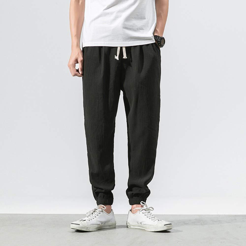 ALOVEMO Mens Pants Mens Casual Slim Fit Sports Loose Harem Pants Ankle-Length Linen Trousers Baggy Pants