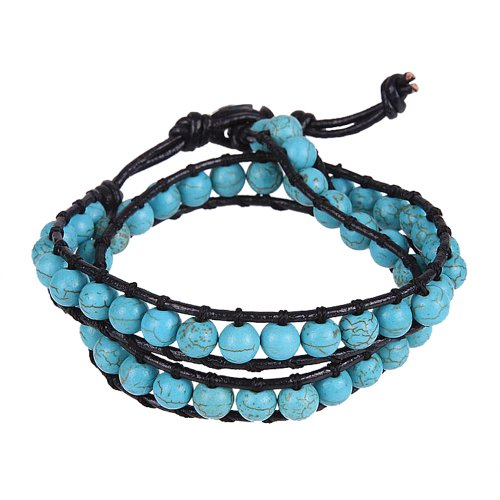 Trendy Women synthetic-turquoise Beads Wrap Genuine Leather Bracelet - Turquoise Bead Necklace Wrap