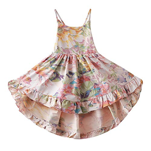 Crazy Gotend Girls' Camisole Printed Dress Twirly Dresses Swallowtail Dress,Pink -