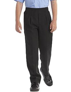 MyShoeStore Boys Palvini Back to School Trousers Kids Formal Classic Quality Sturdy Wider Fit Trouser Plain Loose Big Size Uniform Half Elasticated Waist Pockets Pant Black Grey Age 5-13 Years