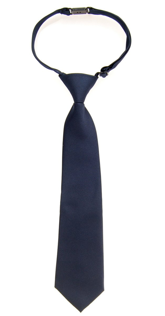 Retreez Solid Matte Color Woven Microfiber Pre-tied Boy's Tie - Navy Blue - 4 - 7 years