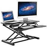 HUANUO Standing Desk Height Adjustable - Sit to Stand Up Desk Converter Gas Spring Riser with Keyboard Tray and Grommet Mounting Hole For Monitor Stand, LIFT Workstation Desktop From 4.2' to 20.1'
