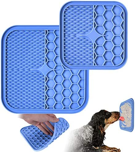 Dog Lick Mat,2 Pcs Lick Mat for Dogs, Dog Washing Distraction Device for Pet Bathing,Grooming etc,Reducing Boredom & Anxiety.