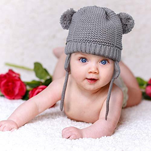 Knitting Pattern Hat Earflap - FindUWill Baby Cute Bear Warm Fall Winter Hat,Infant Toddler Girls Boys with Earflap Fleece Lined Knit Beanie Hat (M, Gray)