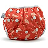 Nageuret Reusable Swim Diaper, Adjustable & Stylish Fits Babies Diapers Sizes N-5 (8-36lbs) Ultra Premium Quality For Eco Friendly Baby Shower Gifts & Swimming Lessons Little Girl Swimsuit (Flamingos)