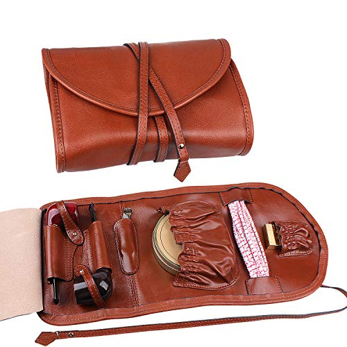 Handmade Genuine Leather Pipe Tobacco Pouch Bag Organize Case Pipe Tool lighter Holder Pocket for 2 pipe Vintage Unisex (Brown(lacing )) by Unknown (Image #2)