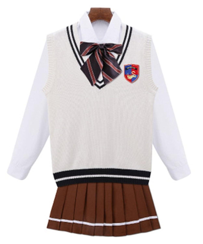 Women Academy School Uniform Cosplay Costume Pleated Skirt Set