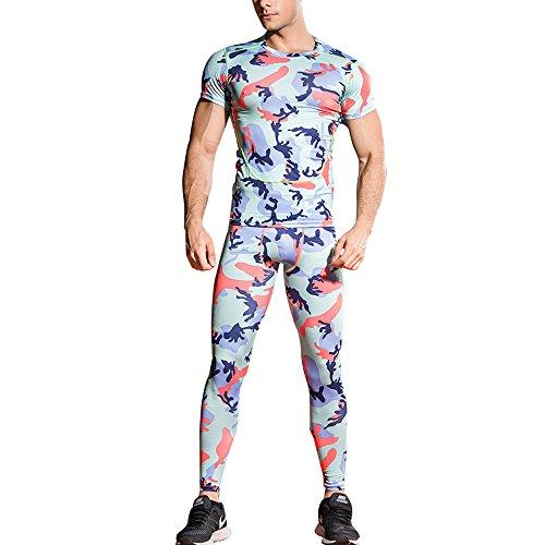 一部付与貧しい1bestsメンズ2 PiecesスポーツFitness迷彩柄Tight Set Running速乾性通気性圧縮Tシャツ+パンツ