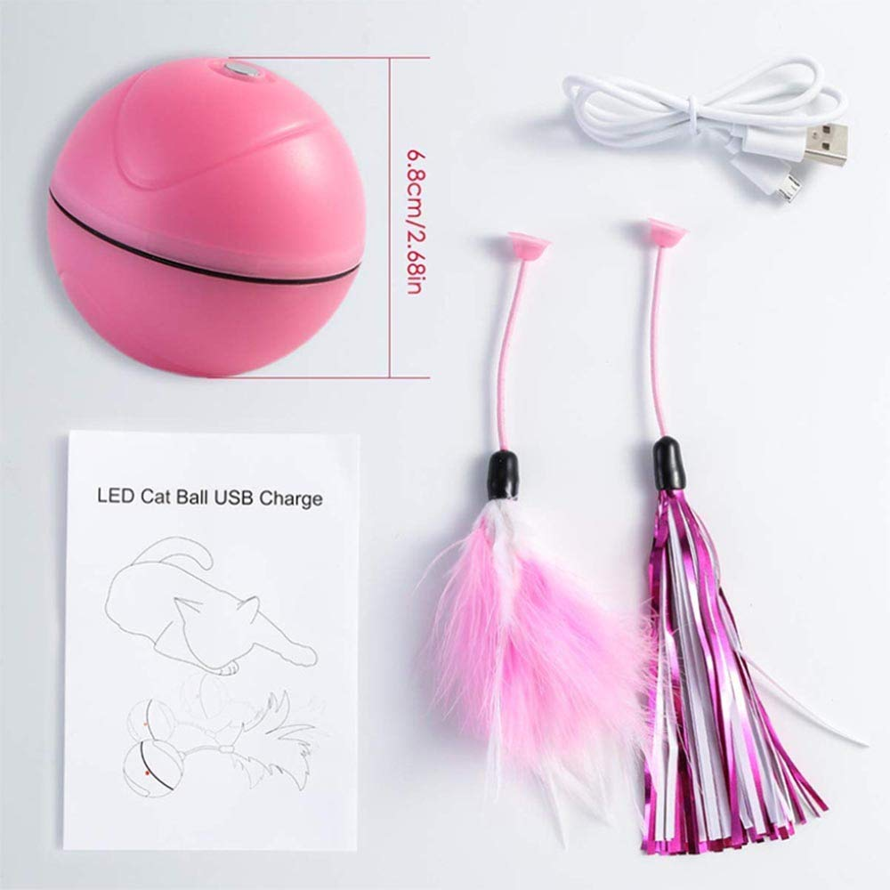 HKJCC Pet cat Toy LED Automatic Scrolling Light Electric Toy Funny cat Ball Replaceable Feather USB Charging,Pink