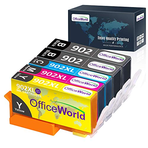 OfficeWorld 5 Pack 902XL Compatible Ink Replacement for HP 902 Ink Cartridge, Work with HP OfficeJet Pro 6968 6978 6958 6962 6960 6970 6979 6950 6954 6975 Printer (2BK, 1 Meganta,1 Cyan,1 Yellow)