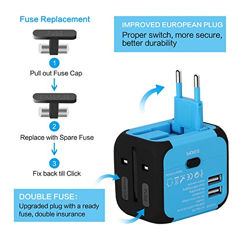 Travel Adapter Uppel Dual USB All-in-one Worldwide Travel Chargers Adapters for US EU UK AU about 152 countries Wall Universal Power Plug Adapter Charger with Dual USB and Safety Fuse (Blue)