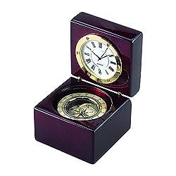 Square Wood Box W/ Clock & Compass