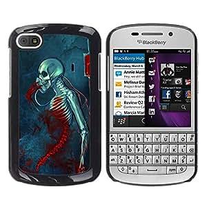 GOODTHINGS Funda Imagen Diseño Carcasa Tapa Trasera Negro Cover Skin Case para BlackBerry Q10 - la muerte de sangre sombría esqueleto cráneo azul