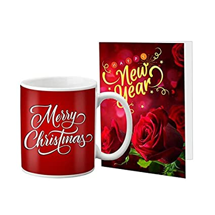 VESPL Combo of Ceramic Mug and Greeting Message Card LOF Lovable Gifts for Merry Christmas and