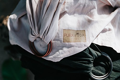 Luxury Ring Sling Baby Carrier – extra-soft bamboo and linen fabric - lightweight wrap - for newborns, infants and toddlers - perfect baby shower gift – great for new Dad too - nursing cover by Pura Vida Slings (Image #8)