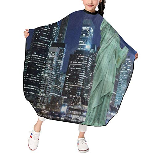 (Haircut Cape Manhattan Skyline Statue Of Liberty New York City At Night Fantastic Hairdressing Apron Polyester Water Resistant Hair Cutting Cape for Kids)