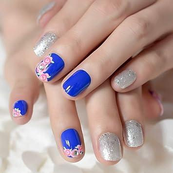 Amazon Com Uv Blue Pink Rose French False Nails Sparkly Silver