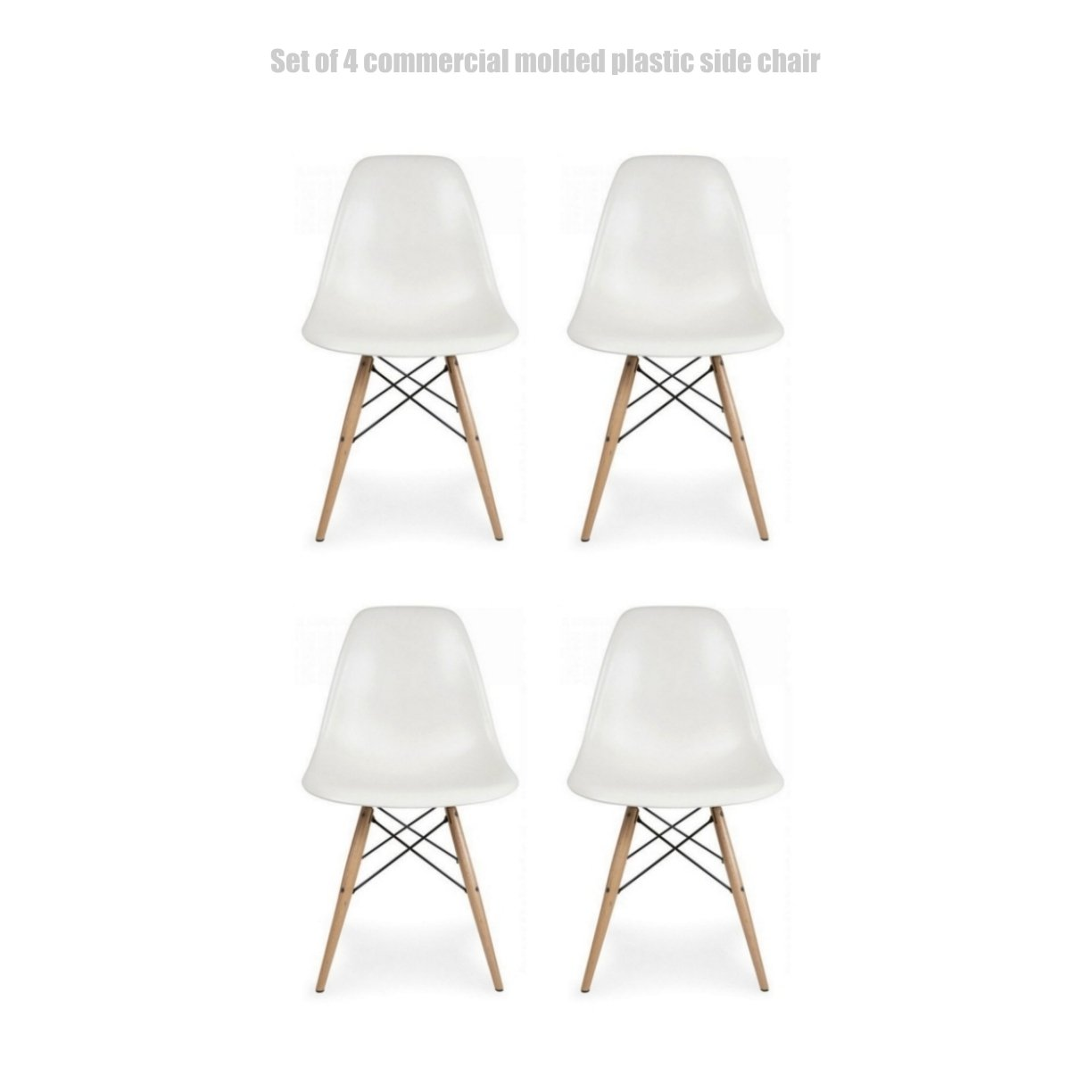 Classic Vintage Style Dining Chair Molded Plastic Flexible Backs Support Deep Seat Pockets Straight Wooden Dowel Legs Innovative Side Chair - Set of 4 White #1445