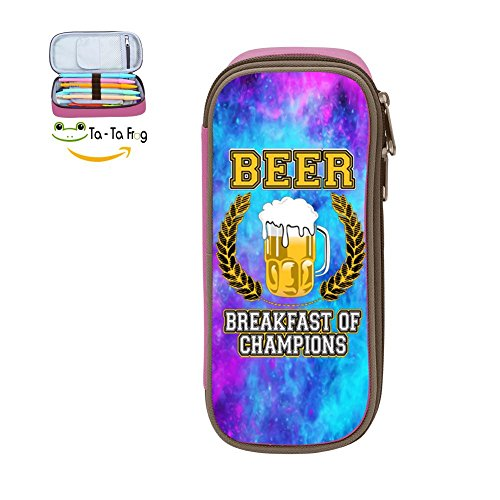 Oiguio Pen Case Pencil Bag Makeup Pouch Cosmetic Bag Beer Breakfast of Champions Durable Students - Signs P Of Symptoms And