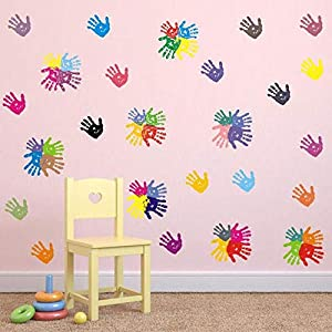 BUCKOO Colorful Hand Prints Wall Decal Sticker – Unicorn Angel Flower Wall Decal Polka Dot Eyebrow Wall Sticker – Ocean Animal Wall Decal, Pirate Ship Wall Decal