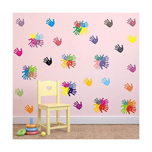BUCKOO Colorful Hand Prints Wall Decal Sticker - Unicorn Angel Flower Wall Decal Polka Dot Eyebrow Wall Sticker - Ocean Animal Wall Decal, Pirate Ship Wall Decal 2