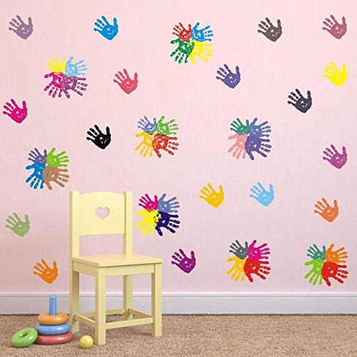 BUCKOO Colorful Hand Prints Wall Decal Sticker - Peel and Stick DIY Easy to Install | Nursery Playroom Classroom or Daycare Decor Wall Decals Home Decor ()
