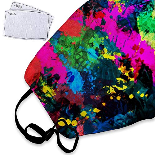- Colourful Paint Splatter Dust Mask Reusable Washable Breathable Anti Pollution Mask with PM 2.5 Activated Carbon Filter Insert Flu Mask Face Safety Masks For Men Women