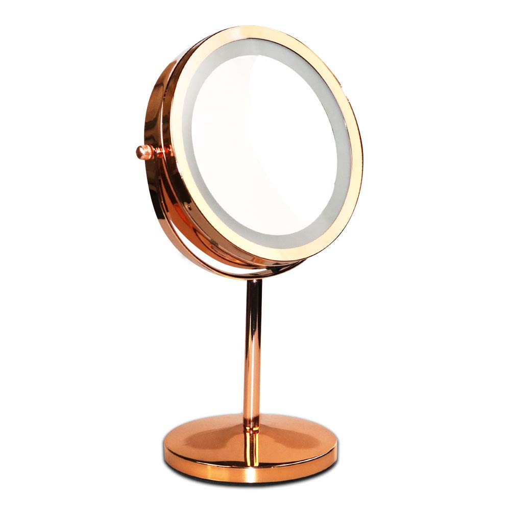 Makeup Vanity Mirror with LED Lights, 360 Degree Two-Sided Swivel Natural Lighted Cosmetic Touch sensor Mirror with 7X Magnification, Rose Gold