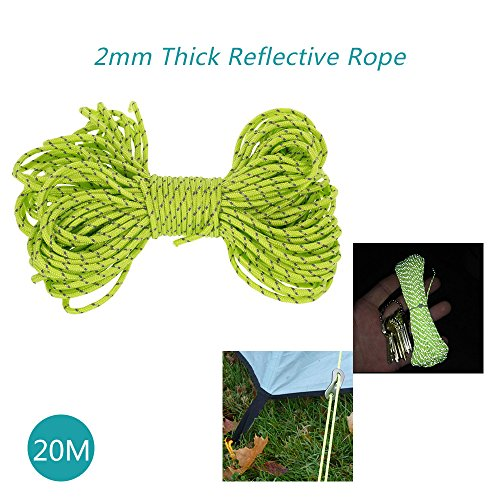 RedSonics 20m Multifunction Tent Rope Reflective Paracord Cord Tent Accessories Outdoor Camping Hiking 2mm Tent Rope Awning Lanyard