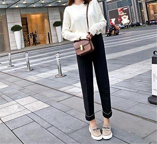 Fibbia di Formato beige Pelle mocassini Macchia metallo Scarpe da piattaforma donna 35To42 xwCAXHq