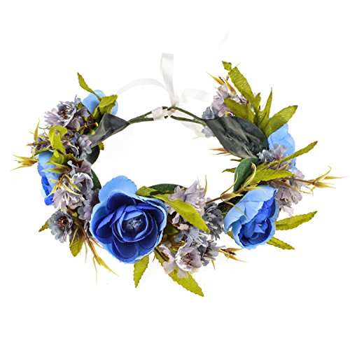 Love Sweety Rose Flower Headband Floral Crown Garland Halo (2# Royal Blue)