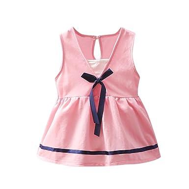 11f08492ec55e Lavany Baby Girls Dresses Cute Toddler Girl V Neck Bokwnot Cotton Casual  Dress (0-