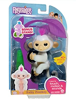 WowWee Fingerlings Sophie White Baby Monkey with Bonus Stand by Fingerlings