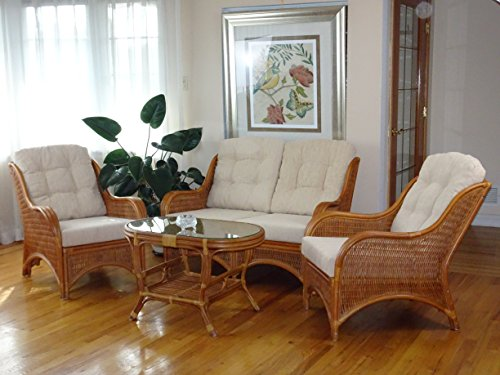 Jam Rattan Wicker Living Room Set 4 Pieces 2 Lounge Chair Loveseat/sofa Coffee Table Colonial (Light Brown). Cream Cushions. (Living Design Room Tropical)
