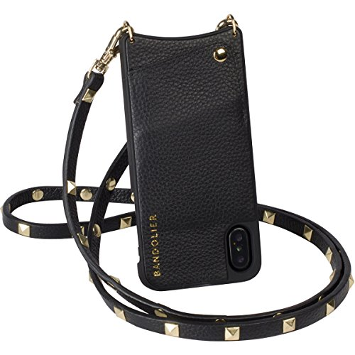 Bandolier [Sarah] Phone Case with Strap Compatible w/iPhone X & XS - Black Genuine Leather Womens Travel Wallet for Cards & Gold Metal. Crossbody Purse Belt + Cover for Mobile Handsfree Convenience