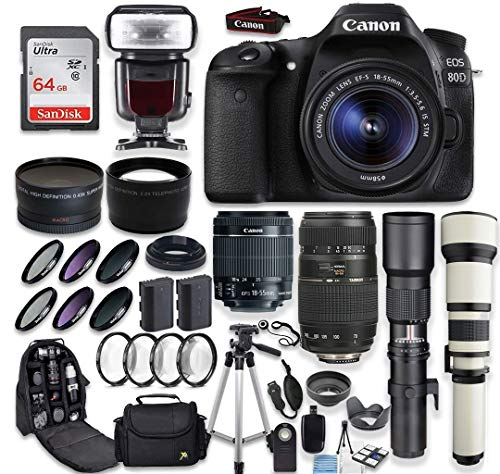 Canon EOS 80D DSLR Camera + Canon EF-S 18-55mm + Tamron 70-300mm Lens + 500mm & 650-1300mm Telephoto Preset Lens + Wide Angle & Telephoto Lens + Macro Filter Kit + 64GB Memory Card + Accessory Bundle (Canon Camera Full Hd)