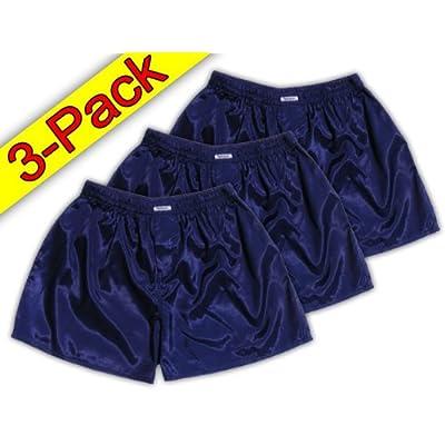 (XXL) 3 shorts pour Dark Blue Boxer Shorts Sous-vêtements Vêtements de nuit en satin