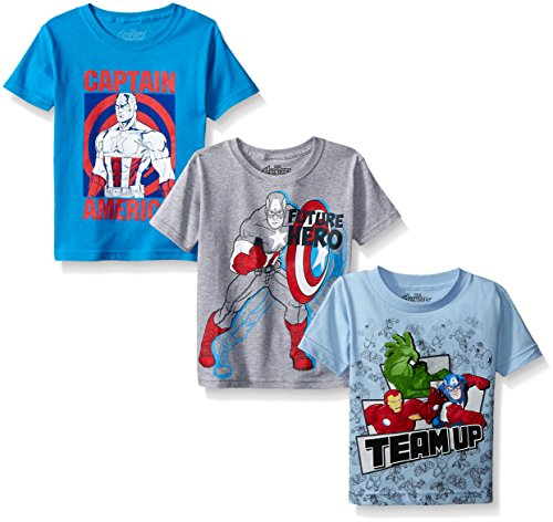Marvel Boys' 3-Pack Tee, Blue/Grey/Light Blue, 5/6