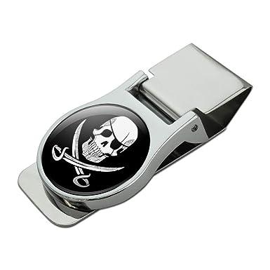8ceff180cef6 Pirate Skull Crossed Swords Tattoo Design Satin Chrome Plated Metal Money  Clip: Amazon.co.uk: Clothing