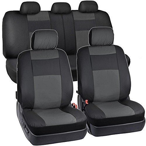 (BDK OS-409-CC-A_am Black & Charcoal Synthetic Leather Seat Covers for Car SUV Van - Affordable PU Vinyle Replacement Covers)