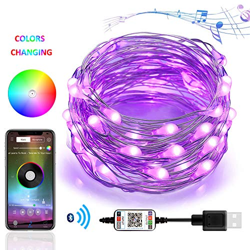 (4-FQ Fairy String Lights,Led String Fairy Lights Plug in Color Changing Lights Bluetooth,USB Starry Sting Light Sync to Music APP,Fairy Lights Timer,16.4ft RGB Copper Wire Lights DIY Decor Rope)