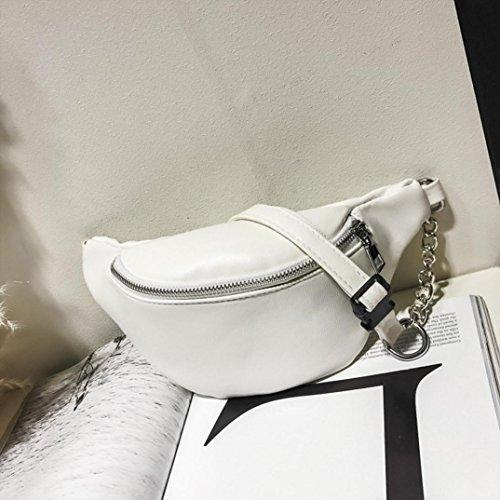 VIASA Women Fashion Sexy Lady Chain Leather Messenger Bag Shoulder Bag Chest Bag (White) by VIASA_bag (Image #2)