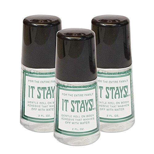 Ames Walker AW It Stays! Body Adhesive (3 Bottles) 2 oz. - Roll on Body Glue - Wig-Bra-Hosiery (Clothing) Glue