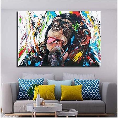 40x50cm Surfilter Imprimir en lienzo Graffiti Pinturas en lienzo de mono lindo Cartel impreso e impresiones Pintura Cuadros de pared para decoraci/ón del hogar 15.7/& rdquo; x 19.6/& rdquo; Sin ma