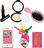 Click N Play 8 Piece Girls Pretend Play Purse, Including a Smartphone, Car Keys, Credit Card, Lipstick, Lights up Make Real Life Sounds