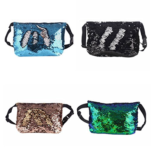 JAGENIE Reversible Fanny Blue Waist Hip Black Bag Pack Purse Belt Travel Pouch Sequins Women Sport ppHwdqr