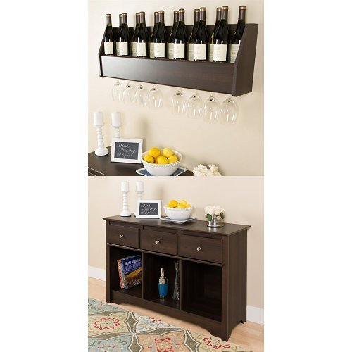 (Prepac Floating Wine Rack and Living Room Console - Espresso)