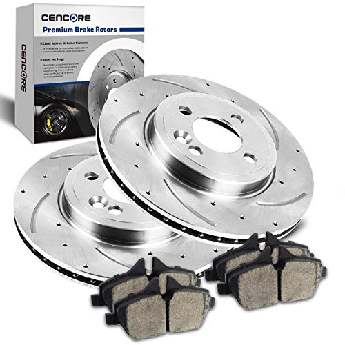 (CENCORE  Front Left & Right Non-Coated Anti-Rust Brake Disc Plate Kit Cross Drilled & Slotted 2 Brake Rotors & 4 Ceramic Brake Pads Compatible with 2009-2011 Mini Cooper)